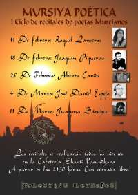 Raquel Lanseros, Joaquín Piqueras, José Daniel Espejo, Alberto Caride y Juanma Sánchez participan en 'Mursiya Poética'