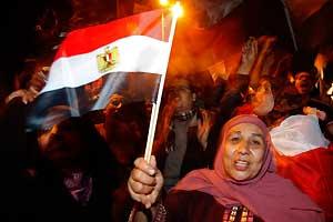 <p>Noche de fiesta en Tahriren</p>