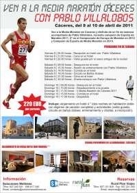 El campeón de España de Maratón Pablo Villalobos compartirá entrenamiento con los atletas de la Media Maratón de Cáceres