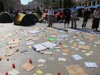 Los miembros de la acampada organizan charlas impartidas por profesores de la Universidad de Zaragoza