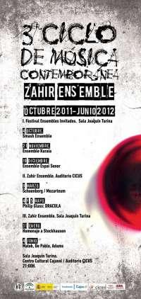 El III Ciclo de Música Contemporánea Zahir Ensemble comienza el próximo 4 de octubre