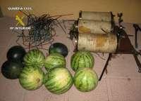Guardia Civil sorprende a tres vecinos de Albudeite robando cobre y fruta de una finca de Totana