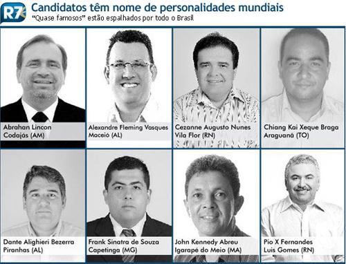 Candidatos a alcalde en Brasil.