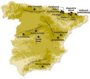 Gráfico de las estaciones de esquí españolas.