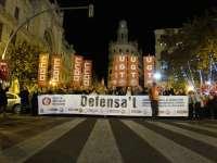 Una manifestación recorre el centro de la ciudad contra los recortes en pensiones y las tasas judiciales