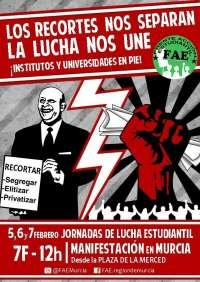 El FAE convoca movilizaciones en Murcia, Cartagena, Molina, Lorca, Cehegín y Yecla contra la LOMCE