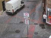 Una fuerte granizada de unos pocos minutos se mezcla con la lluvia en Mérida (Badajoz)