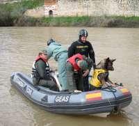 Perros expertos en localizar cadáveres sumergidos se suman a la búsqueda del joven desaparecido en el Pisuerga