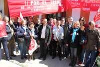 Más de un centenar de personas muestra su apoyo a la línea de tren Huelva-Zafra en Jabugo y Calañas