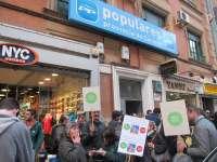 Unas 60 personas participan en un protesta en Cáceres convocadas por la Plataforma de Afectados por la Hipoteca