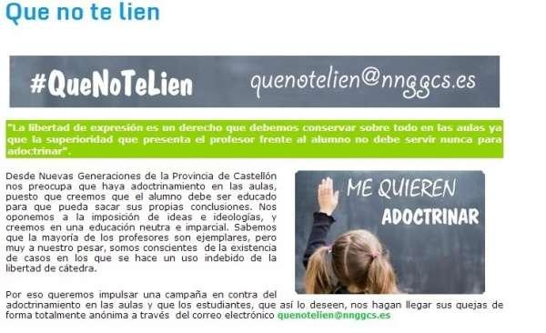 La Fiscalía Provincial de Valencia investigará la campaña de NNGG sobre el