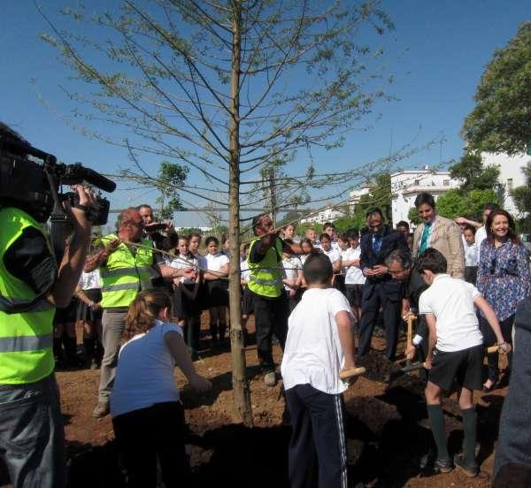 Comienza la plantación del Parque Guadaíra, a un 80% de ejecución y que abrirá este verano