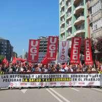 Sindicatos se manifiestan contra los recortes de Rajoy que afectan a la prevención y salud laboral