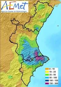 Las lluvias dejan 252 litros por metro cuadrado en Pinet y rachas de viento de 72 km/h en Barx (Valencia)