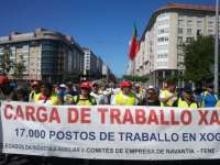 Unos 3.000 trabajadores del naval de Ferrol inician una marcha de 20 kilómetros para exigir carga de trabajo