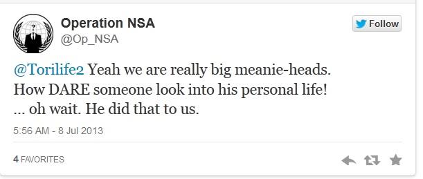 Tuit en el perfil Operation NSA