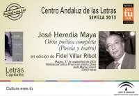 Fidel Villar presenta este martes la obra poética y teatral de José Heredia Maya