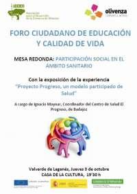 Una mesa redonda en Valverde de Leganés (Badajoz) aborda la participación en el ámbito sanitario