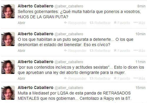 Comentarios en Twitter de Alberto Caballero borrados.
