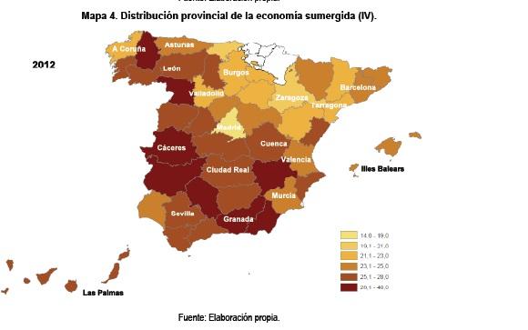 Mapa de la economía sumergida en España por territorios.
