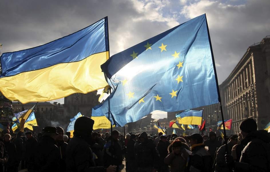 Manifestantes europeístas en Ucrania.