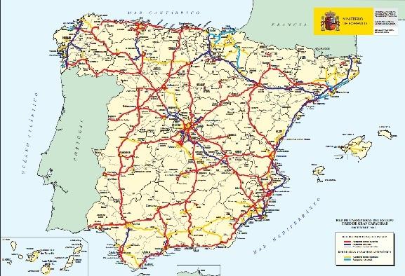 Mapa de las autopistas españolas elaborado por el Ministerio de Fomento.