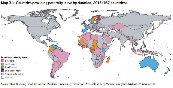 Mapa de los permisos por maternidad, por países (OIT).