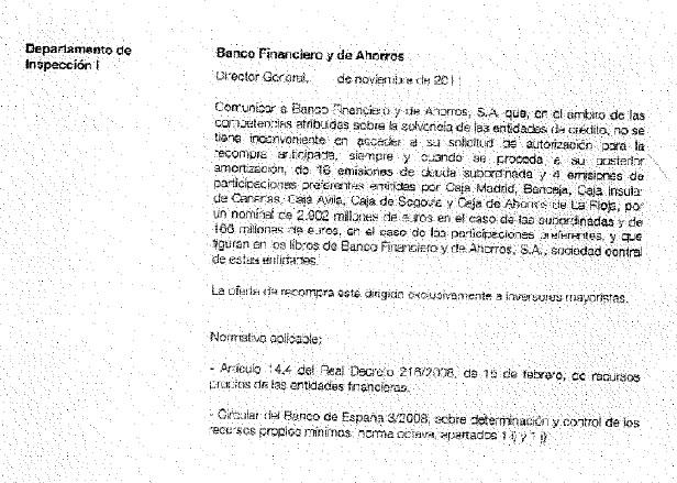 Documento del Banco de España en el que autoriza a BFA-Bankia a recomprar preferentes solo a inversores mayoristas.