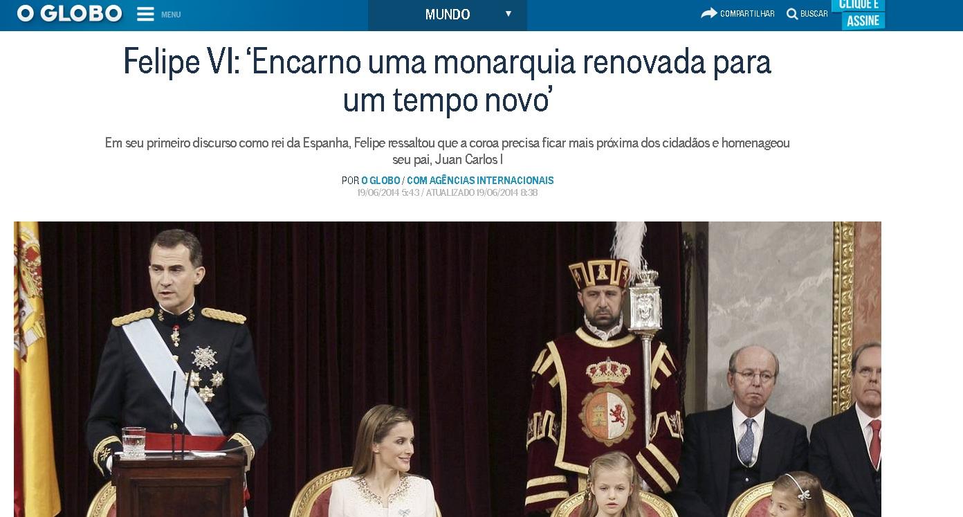 La web del diario brasileño O Globo nformando de la proclamación de Felipe VI.