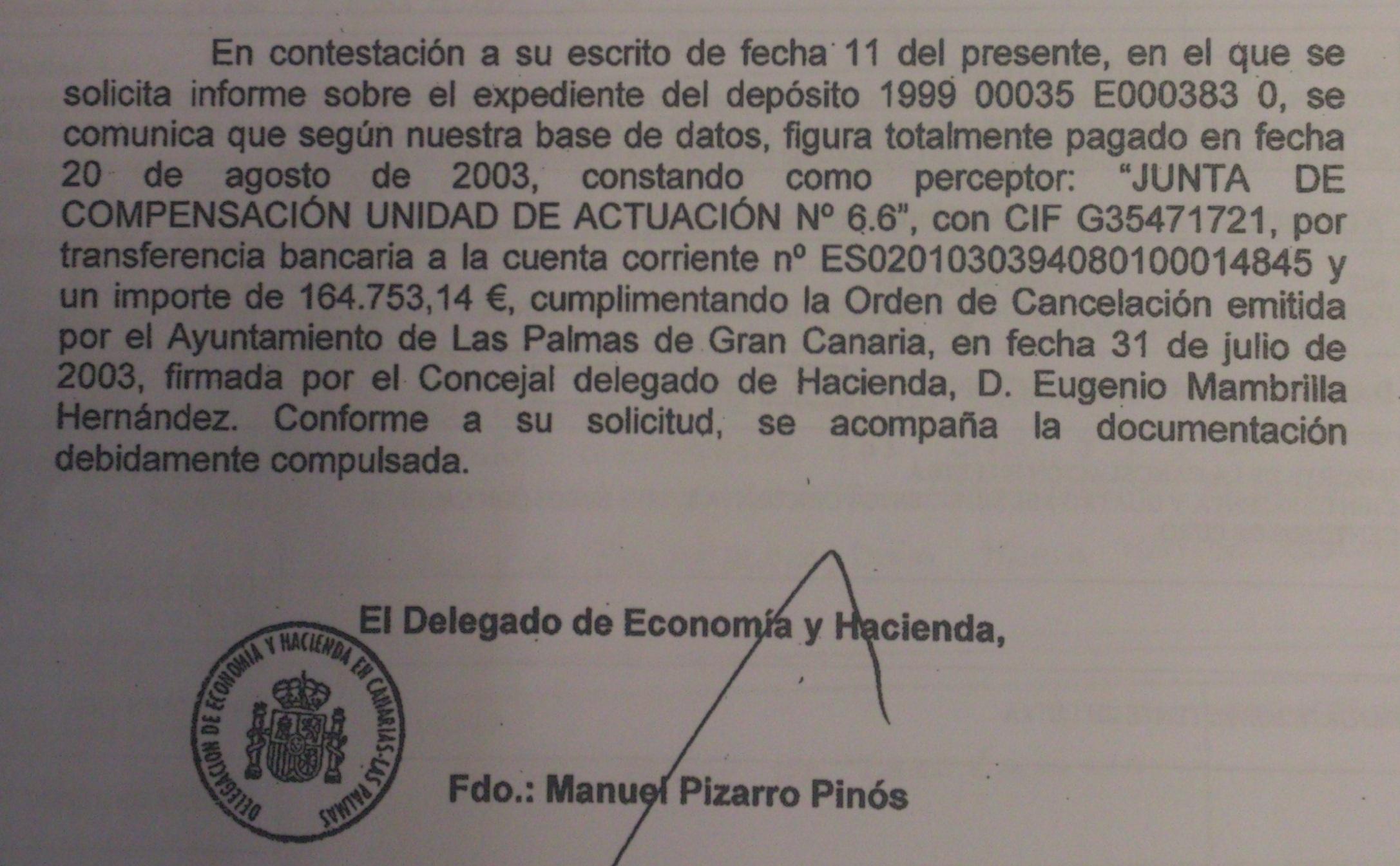 Comunicación del Ministerio de Hacienda informando quién canceló el depósito de Gloria y quién fue el perceptor del dinero.