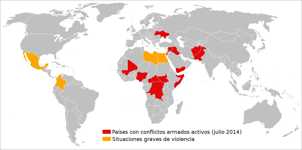 <p>Conflictos armados en el mundo, en julio de 2014.</p>