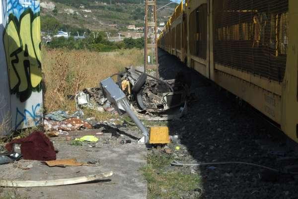 Mueren dos personas al ser arrollado el coche en el que viajaban por un tren en Berriozar