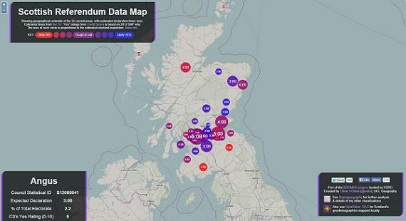Mapa sobre el referéndum independentista en Escocia.