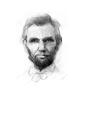 <p>Retrato ilustrado de Abraham Lincoln</p>