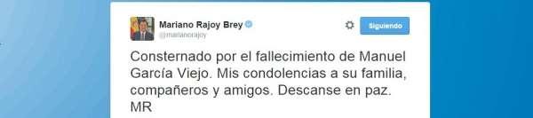 Rajoy muestra sus condolencias a la familia, compañeros y amigos del sacerdote García Viejo