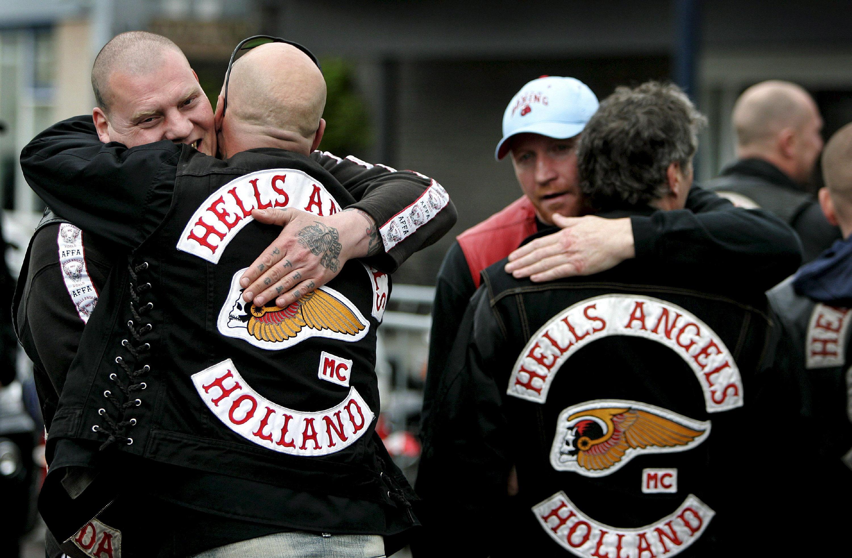Miembros de 'LosÁngeles del Infierno' de Holanda, grupo prohibido en ese país.
