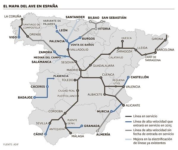 <p>El mapa del Ave en España</p>