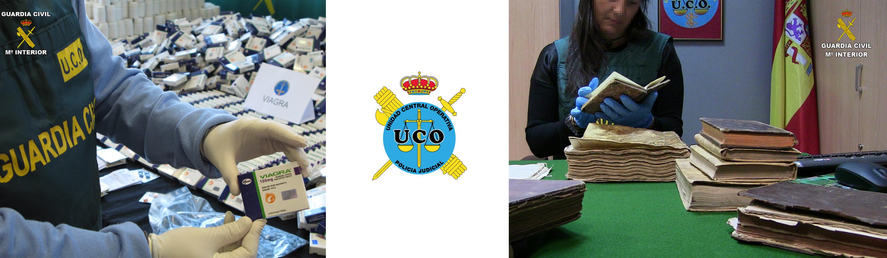 Dos investigaciones de la UCO de la Guardia Civil, sobre falsificación de medicamentos y el robo de libros antiguos.