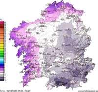Calvos de Randín (Ourense) registra la temperatura más baja de Galicia en lo que va de año, con -9,3º