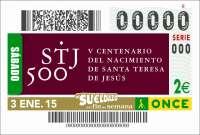 El primer sorteo de 2015 de la ONCE promocionará el V Centenario del nacimiento de Santa Teresa