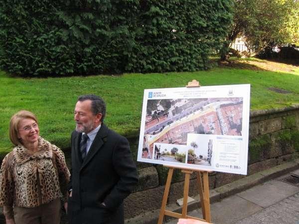 Arranca la peatonalización de Carreira do Conde en Santiago, que se acabará en 6 meses tras eliminar 50 aparcamientos