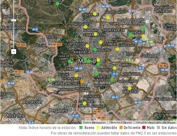 Estaciones medidoras de la calidad del aire en Madrid