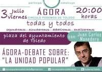 Monedero participará este viernes en Toledo en un debate sobre unidad popular en la plaza del Ayuntamiento