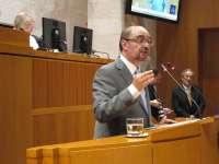 El Palacio de la Aljafería acoge la toma de posesión de Javier Lambán como presidente del Gobierno aragonés