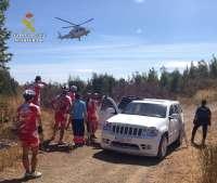 Sucesos.- La Guardia Civil auxilia a un ciclista que había caído en una zona de difícil acceso en Villarrasa