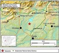 Registrado un pequeño terremoto de magnitud 2,6 con epicentro en Calzadilla (Cáceres) que no causa daños