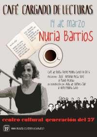 Cultura.- La escritora Nuria Barrios, protagonista este lunes de 'Un café cargado de lecturas'