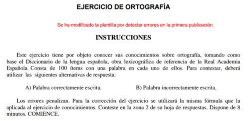 Instrucciones del examen de ortografía de la policía