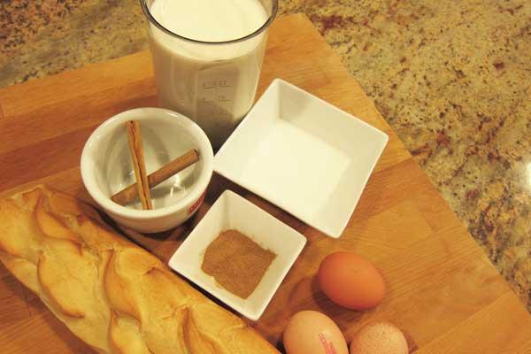 Ingredientes para la receta de torrijas.