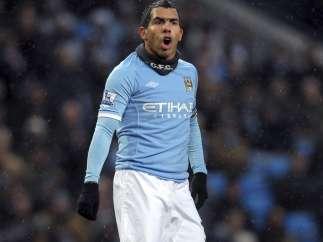 Carlos Tévez con el Manchester City